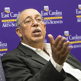Retired Lt. Gen. Russel L. Honoré speaks with students