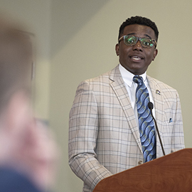 La'Quon Rogers, SGA president, was recognized at the Board of Trustees meeting