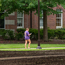 A student walks on campus as classes resume after Hurricane Florence.