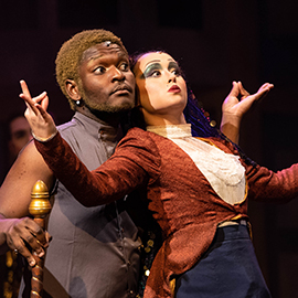 """Jayland Potts and Kelly Clare Toland perform in """"The Mystery of Edwin Drood."""""""