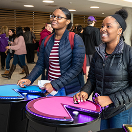 Games in the new Main Campus Student Center were a hit on opening day.