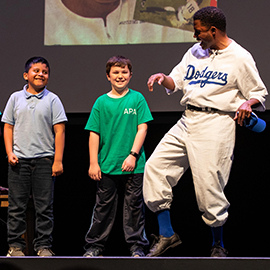 "Acclaimed actor and playwright Mike Wiley performs in ""Jackie Robinson: A Game Apart"" in Wright Auditorium."
