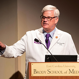 Dr. Mark Stacy, Dean of the Brody School Medicine, gives the State of the School address on Wednesday, February 27, 2019.