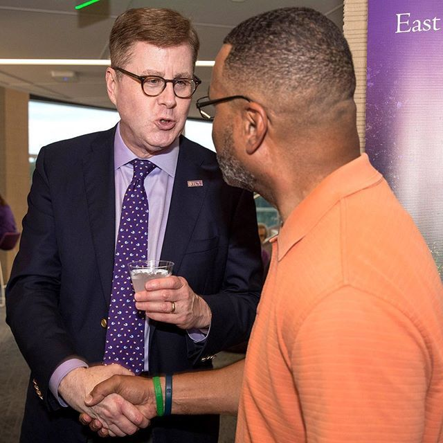 ECU Chancellor Cecil Staton greets parents and students during the Pirate Family Welcome Reception at the Health Sciences Student Center on Friday evening. (ECU Photo by Rhett Butler)
